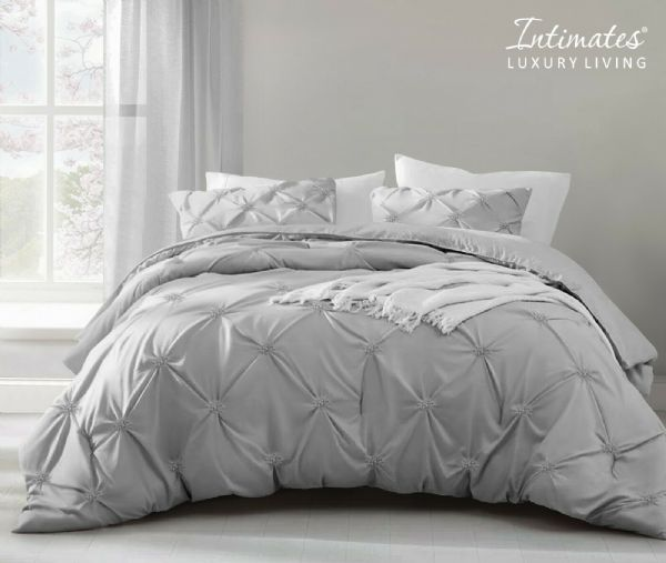 Pintuck Pinch Pleated Duvet Cover And Pillowcase Textured Stripe Polycotton Bedding Set Silver Grey